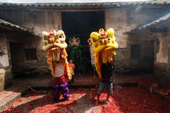 Kinesisk lejondans Arkivfoton