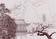 kinesisk liggande vektor illustrationer