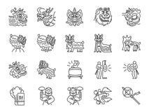 Kinesisk linje symbolsuppsättning för lejondans Inkluderade symbolerna som kapaciteter, musikern, lejondansen, drakedansen, beröm vektor illustrationer