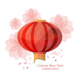 Kinesisk lykta i låg poly stil med lotusblommablommor stock illustrationer