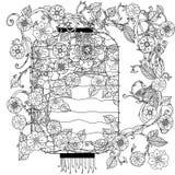 Kinesisk lykta i zentagle stock illustrationer