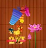 kinesisk lykta lyckligt nytt år 2017 med tuppen stock illustrationer