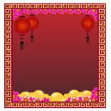 Kinesisk lykta med guld - illustration Royaltyfri Bild