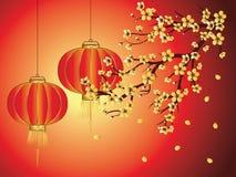 Kinesisk lykta med Sakura Branch vektor illustrationer