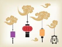 Kinesisk lykta och moln vektor illustrationer