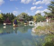 Kinesisk lykta på botaniska trädgården Royaltyfri Foto