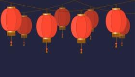 Kinesisk lyktakedjegirland, röda asiatiska traditionella pappers- lampor på mörk bakgrund, felika ljus, footer och baner för deco stock illustrationer