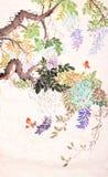 Kinesisk målning av blommor och fjärilen Arkivfoto