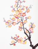 Kinesisk målning av blommor, plommonblomning royaltyfri foto