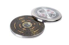 Kinesisk magnetisk kompass - Luopan bakgrund isolerad white Arkivbild