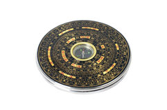 Kinesisk magnetisk kompass - Luopan bakgrund isolerad white Royaltyfri Fotografi