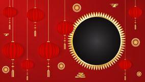 Kinesisk mall för hälsa kort för nytt år 2019 röd med traditionell asiatisk garnering, guld- beståndsdelar på röd bakgrund vektor vektor illustrationer