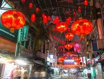 Kinesisk marknad på natten Arkivfoto