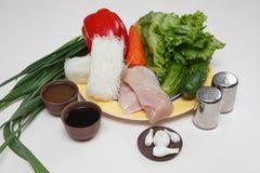 Kinesisk matcellofan med grönsaker Arkivbilder