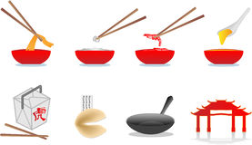 kinesisk matillustration Arkivbilder