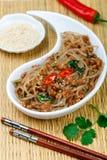Kinesisk maträtt av stärkelseexponeringsglasnudlar ris, potatisar, bönor med köttgriskött eller nötkött arkivbilder