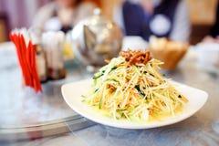 Kinesisk maträtt, hemlagad sallad på restaurangen Asiatisk kokkonstserie Royaltyfria Bilder