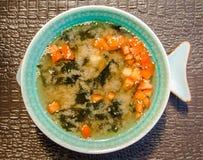 Kinesisk matsoppa i en härlig bunke arkivbild