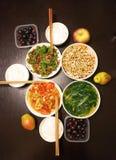 Kinesisk matställe för familj tre Arkivfoto