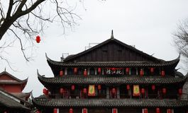 Kinesisk millennial forntida arkitektur royaltyfria bilder