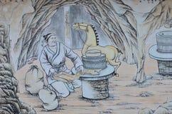 Kinesisk målning av den forntida kinesiska bonden Arkivfoto