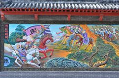 Kinesisk målning av det forntida kinesiska kriget Arkivbild