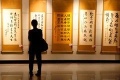 Kinesisk målning och calligraphyutställning Arkivfoto