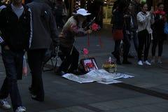 Kinesisk musiker i Sydney Arkivbilder