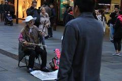 Kinesisk musiker i Sydney Royaltyfria Foton
