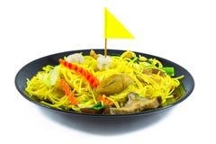 Kinesisk nudeluppståndelse med grönsaken, tofu, champinjon Vegetarian f Royaltyfri Bild