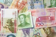 Kinesisk och rysk valuta Arkivbilder