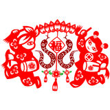 Kinesisk orm för nytt år Arkivfoto