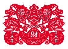 Kinesisk paper cutting - slagträet som överför pengar stock illustrationer