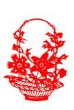 Kinesisk papper-snitt blommakorg Royaltyfri Bild