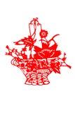 Kinesisk papper-snitt blommakorg Arkivbilder