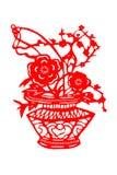 Kinesisk papper-snitt blommakorg Fotografering för Bildbyråer