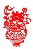 Kinesisk papper-snitt blommakorg Arkivfoton