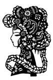 Kinesisk papper-snitt kvinnahuvudbonad Arkivbild