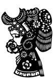 Kinesisk papper-snitt kvinnahuvudbonad Arkivfoto
