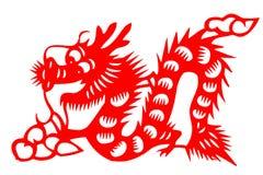 Kinesisk papper-snitt loong Arkivbild