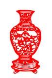 Kinesisk papper-snitt porslinvas Royaltyfri Fotografi