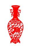 Kinesisk papper-snitt porslinvas Arkivfoton