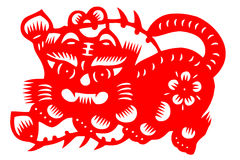 Kinesisk papper-snitt tiger Royaltyfri Foto