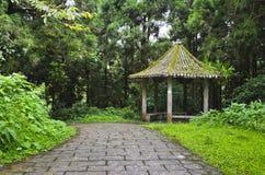 Kinesisk paviljong i skogen med stenvägen royaltyfri foto