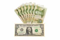 Kinesisk pengarrmbsedel och amerikandollar Royaltyfri Foto