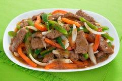 kinesisk pepparsteak arkivfoton