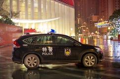 Kinesisk polisbil som bevakar i Whan, Kina Arkivbilder