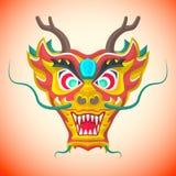 Kinesisk röd drakemaskering för plan stil Royaltyfri Foto