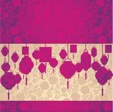 Kinesisk rosa färg- och krämlotusblommatapet och lyktahorisontalbaner stock illustrationer