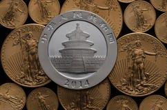 Kinesisk silverpanda över USA-guld Eagle Coins Royaltyfri Foto